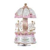 Luxury Dream 3-Horse Rotating Carousel Merry-go-round Windup Music Box with Colorful Color Change LED Luminous Light Melody of Castle in the Sky Artware Birthday Valentine Gift