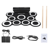 Portable Stereo Digital Electronic Roll Up Drum Kit 9 Silicon Drum Pads Built-in Double 3W Speakers USB Powered with Drumsticks Foot Pedals 3.5mm Audio Cable for Practice Beginners Kids