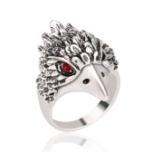 Fashion Retro Antique Silver Finger Ring Cool Eagle Head Diamond Ring for Men Great Jewelry
