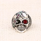 Personality Retro Skull with Red Zircon Eye Embedded Crystal Ring Different Exaggerated Jewelry