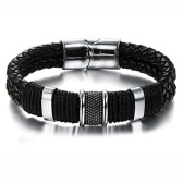 Charming Men's Genuine Leather Stainless Steel Magnetic Buckle Bracelet
