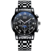 Angela Bos Luxury Stainless Steel Analog Wristwatch Luminous 3ATM Water Resistant Man Quartz Watch with Luminous Hands