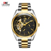 TEVISE Moon Phase Fully Automatic Mechanical Watches For Man Top Brand Luxury Watch Self-winding Trendy Business Style Hollow Mechanical Wristwatch