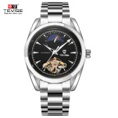 TEVISE Brand New Waterproof Skeleton Moon Phase Fully Automatic Mechanical Unisex Watch Top Brand Luxury Man Watches Self-winding Trendy Business Style Stainless Steel Wristwatch