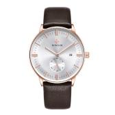 WWOOR Brand Fashion Luminous Genuine Leather Man Watches Calendar Quartz Elegant Man Casual Wristwatch Water-proof Watch + Storage Box