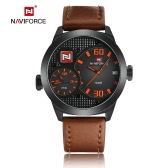 NAVIFORCE 2016 Brand Fashion Dual Time Zone Genuine Leather Quartz Man Watches 30M Water-proof Military Sports Men Casual Wristwatch Calendar + Watch Box