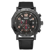 MEGIR Luxury Luminous Quartz Military Style Men Watch Chronograph Genuine Leather Water-Proof Casual Sports Wristwatch Relogio Masculino
