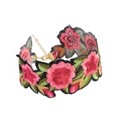 Fashion Retro Handmade Embroidered Floral Choker Necklace Sexy Bohemian Rose Flower Chain