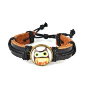 Cute Lovely Round Owl Woven Leather Wrist Bracelet for Women Vintage Jewelry Accessory Gift