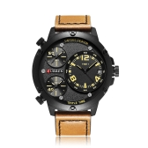 CURREN Cool Three Time Zone Quartz Men Watch Water-Proof Sports Style Chrono PU Band Man Casual Wristwatch