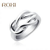 ROXI Unique Fashion White Gold Plated Intersection Buckle Smooth Ring Wedding Engagement Jewelry Accessory for Women Bride