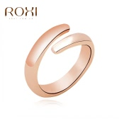 ROXI Fashion Rose Gold Plated Smooth Opening Ring Women Bride Wedding Engagement Jewelry Accessory Nice Gift