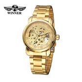 WINNER Luxury Shining Gold See-through Skeleton Self-winding Mechanical Watch Hollowed-out Business Man Wristwatch