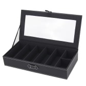 High Quality PU Leather Glasses Sunglasses Display Box Case Jewelry Ring Storage Organizer Holder with 7 Grids for Gift