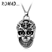 Romad Fashion Unique Charm Hot Punk Metal Stainless Steel Skull Pendant Necklace Chain Jewelry for Women Girl Man Unisex Party Gift Band