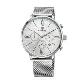 SKONE 2016 Brand Fashion Luxury Full Steel Men Casual Wristwatch Calendar Waterproof Mans Business Dress Watch W/ Sub-dials