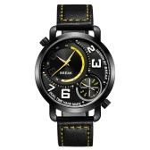 BREAK Fashion Innovative Dual Time Display Quartz Men Watches Luxury PU Leather 30M Water-Proof Man Casual Wristwatch Best Gift + Box