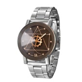 Luxury Fashion Stainless Steel Quartz Analog Gear Dial Pointer Unisex Wrist Watch for Lovers