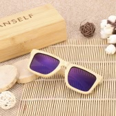 Anself Bamboo Wooden Outdoor Sports Cycling UV400 Unisex Polarized Sunglasses