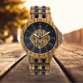 BEWELL 2017 New Luxury Antique Quartz Men Wooden Watch Luminous Analog Wood Casual Wristwatch for Man Dress Watch With Box Week/Date Display