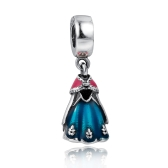 Romacci S925 Sterling Silver Dignified Princess Dress Pendant Bead Enameled for 3mm DIY Lucky Charm Bracelet