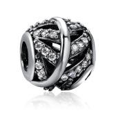 Romacci Owl Diamond Charm S925 Sterling Silver Bead for 3mm DIY Bracelet
