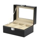 3-Slot PU Leather Fibreboard Watch Display Box Gorgeous Wristwatch Storage Organizer Case
