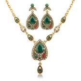 Fashion Retro Bohemian Jewelry Set Necklace Earrings Ring Crystal Luxury Jewelry for Women