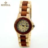 BEWELL High Quality Environmental Natural Wood Lightweight Wristwatch Water Resistant Excellent Women Quartz Watch with Calendar