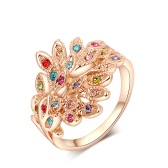 Roxi New Fashion Hot Charm Gold Plated Ring with Colorful Zircons Rhinestone Crystal for Women Girls Party Gift