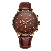 OCHSTIN New Luxury Brand Genuine Leather Men Business Watch Quartz Analog Water-Proof Mans Wristwatch Chronograph Calendar + Box