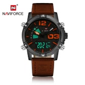 NAVIFORCE New Dual Display Quartz Digital Men Sports Watch Leather Strap Backlight Water-Proof Man Casual Wristwatch Chrono Military Watch + Box