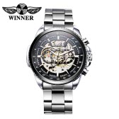 WINNER Hollowed-out Automatic Mechanical Watch High Quality Business Style Watch Luxury Self-winding Man Wristwatch