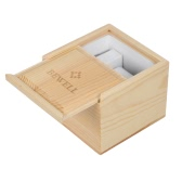 BEWELL High Quality Beautiful Solid Wood Watch Box Wooden Box Elegant Square Burlywood Gift Box with Soft Pillow