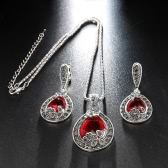 Fashion Retro Jewelry Water-drop Full Crystal Necklace Ring Earrings Exquisite Jewelry Set