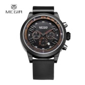 MEGIR Silicone Strap Quartz Wristwatch Fashion Casual Analog Man Sports Watch with 3 Sub-dial