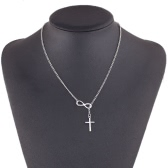 Ladies Fashion Jewelry Elegant Silver Plated Infinity Cross Pendant Chain Party Short Necklace