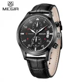 MEGIR Luxury Brand Business Men Wristwatch Leather Strap Water-resistant Casual Man