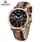 MEGIR Luxury Brand Business Men Wristwatch 3 Sub-dial Leather Strap Water-resistant Man