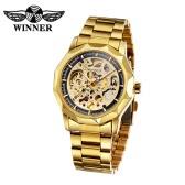 WINNER Trendy Business Style Skeleton Automatic Mechanical Watch Luxury Shining Gold Watchband Self-winding Unisex Wristwatch