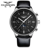GUANQIN Brand New Luxury Fashion Man Quartz Watch Big Dial Sport Casual Men Wristwatch Dual Calendar