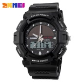 SKMEI Solar Power Analog-Digital Wristwatch Outdoor 5ATM Water Resistant Men Sports Army Military Watch with Calendar Alarm Backlight Week Stopwatch