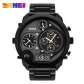 SKMEI 2016 Brand New Popular Men Luxury Watch Analog-digital Quartz Student Wristwatch 30M Waterproof Multiple Time Zone Gold Black Alloy Band Big Dial Outdoors Sports Watches