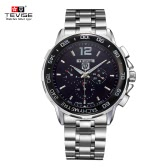 TEVISE New Arrivals Men Luxury Full Steel Discolored Glass Military Style Automatic Mechanical Unisex Watch Top Brand Luxury Multi-fuction Man Watches Self-winding Wristwatch With 3 Small Dials