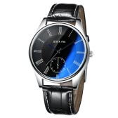 BOSKINE New Male Man Brand Fashion Trendy Style Leather Band Analog Quartz Watch Wristwatch Water Resistance Blue Light Reflecting Glass
