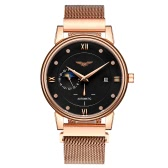 GUANQIN Automatic Mechanical Watch Self-winding Analog Man Business Wristwatch Moon Phase Dial Rhinestone Hour Markers