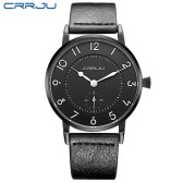 CRRJU Genuine Leather Strap 3ATM Daily Water Resistant Men Analog Watch Simple Wristwatch with Arabic Numeral Hour Marker