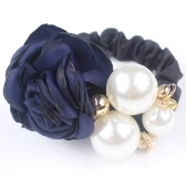 Fashion Retro Simulated Pearl Beads High Elastic Hair Rope Band Korea Camellia Flower Rhinestone Crystal Tiara String Headdress Headwear Hair Jewelry Accessories Ponytail Holder