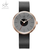 SK Fashion Simplicity Mesh Stainless Steel Women Watches Water-Proof Casual Wristwatch Elegant Ladies Watch Gift