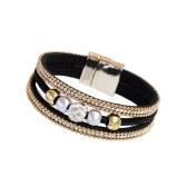 Fashion Women Multi-layer Bangle Bracelet Crystal Beaded Leather Magnetic Unisex Type Wristband